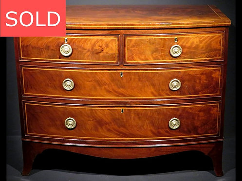 George III Inlaid Mahogany Bow Fronted Chest of Drawers, England Circa 1810