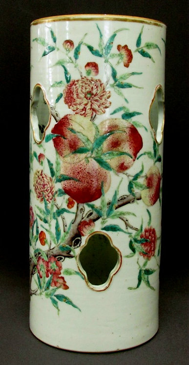 A Chinese Famille Verte Porcelain Hat Stand Vase, Guangxu Period (1875-1908)
