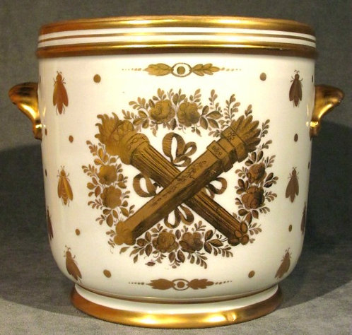 A Very Good Porcelain & Gilt Decorated Cache Pot / Wine Cooler, France