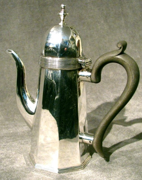 A Diminutive George I Style Sterling Silver Coffee Pot, Hallmarked Chester 1906