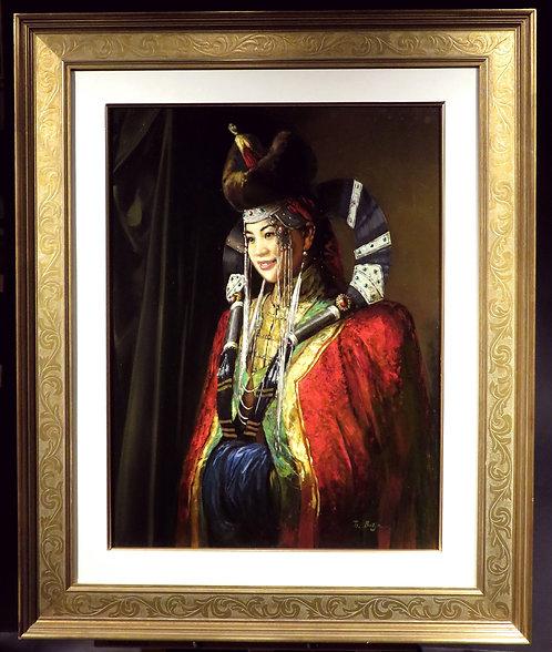 Portrait of a Mongolian Bride,Batjargal Tseyentsogzol, Mongolian (1966-)