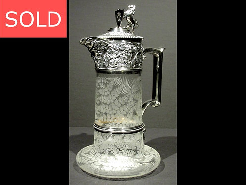 An Exceptional Etched Glass & Silver Plated Claret Jug by Elkington & Co.,London