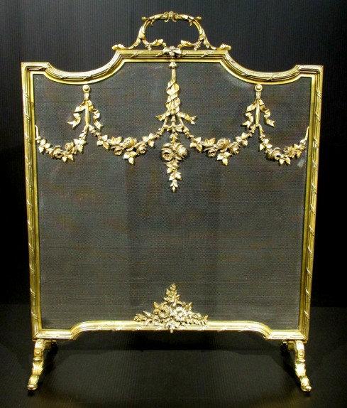 A Very Good Louis XVI Style Gilt Brass Fire Screen, France Circa 1870