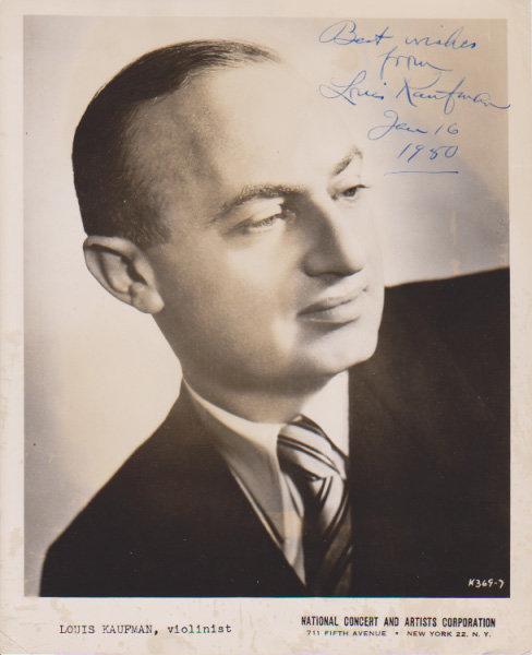 A Signed Vintage Black & White Publicity Photograph of Violinist Louis Kaufman