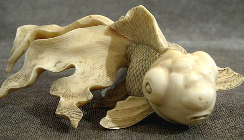 A Finely Sculpted Ivory Model of a Fan-Tail Goldfish, Japanese, Meiji Period