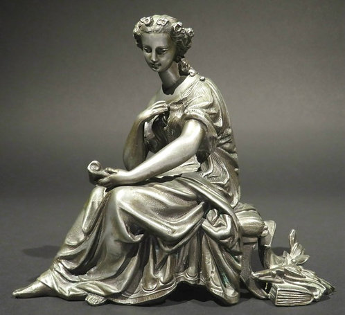 A Finely Cast Neoclassical Style Spelter Figure of a Young Woman, Continental