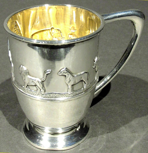 A Very Good Sterling Silver Arts & Crafts Period 'Noah's Ark' Christening Mug