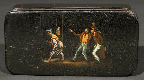A 'Naughty' 19th Century Hand Painted & Black Lacquered Papier-Mâché Snuff Box