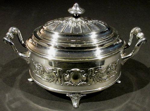 A Very Good 19th Century Silverplated Sugar Bowl by B. Buch, Poland Circa 1880
