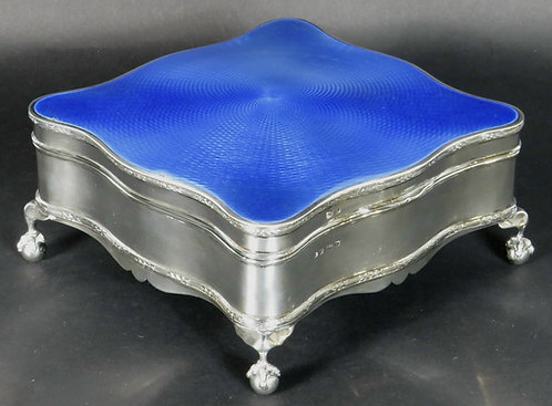 An Exceptionally Large Art Deco Silver & Enamel Jewellery Box