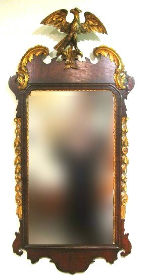 A Very Good Chippendale-Style Mahogany & Parcel Gilt Hall Mirror