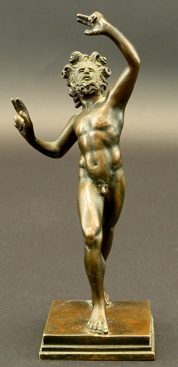 A Finely Cast Hellenistic Style Miniature Bronze of 'The Dancing Faun'