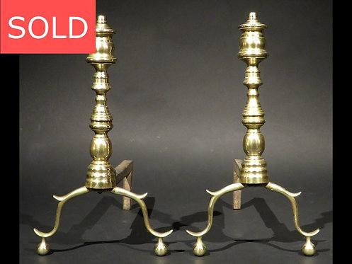 Pair of Signed 19th Century Federal Style Brass Andirons, American Circa 1890