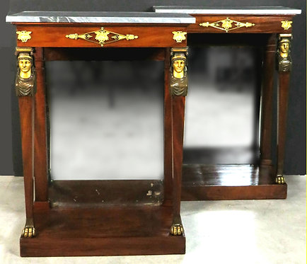 A Fine Pair of Early 19th Century Empire Period Mahogany Console Tables, France