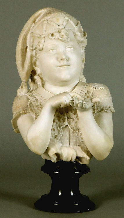 A 19th Century Marble Genre Bust of a Young Girl, Italy Circa 1890