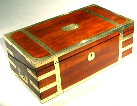A Superior Early 19th Century Brass Bound Mahogany Campaign Writing Box. English
