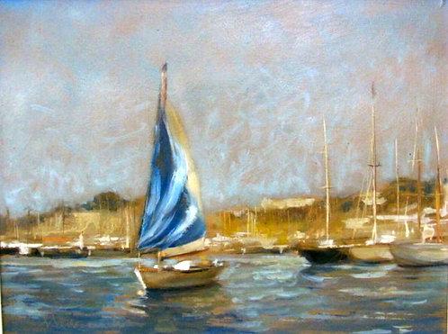 'Sailboats, Mediterranean Harbour', Suzanne Sevranckx (20th Century)
