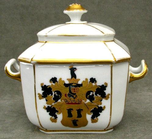 A 19th Century German Porcelain Lidded Sugar Bowl, Bonn 1853