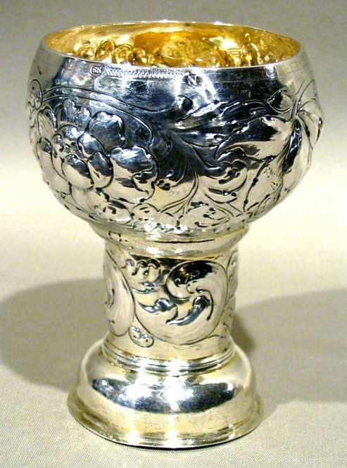 A Rare 17th Century German Silver Roemer by Reinhold Riel (1652-1686)