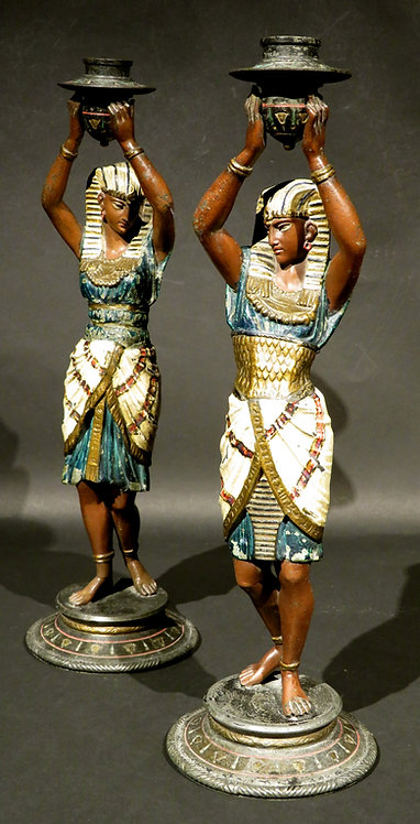 Pair of Egyptian Revival Cold Painted Figural Candlesticks, Austria, Circa 1925