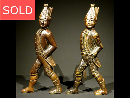 A Rare Pair of 19th Century Hessian Soldier Bronze Andirons, American Circa 1850