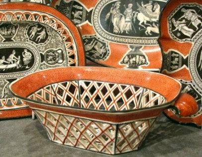 An Assortment of 19th Century 'Greek Pattern' Herculaneum Pottery, England