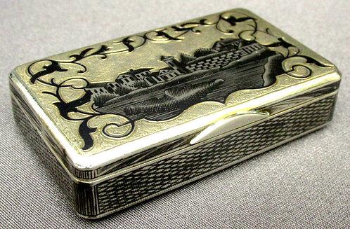 A Fine 19th Century Russian Silver (.875 fine) & Niello Snuff Box, Moscow 1859