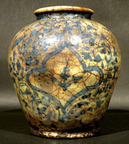 Persian Safavid Glazed Pottery Baluster Vase, 15th Century or Earlier
