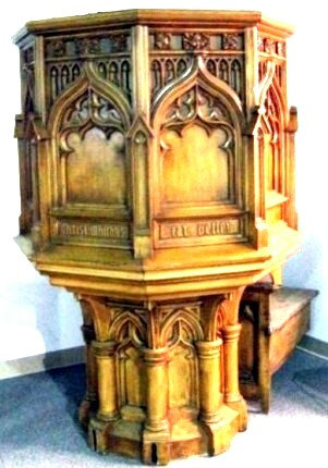 A 19th Century Gothic-Inspired Pine Pulpit