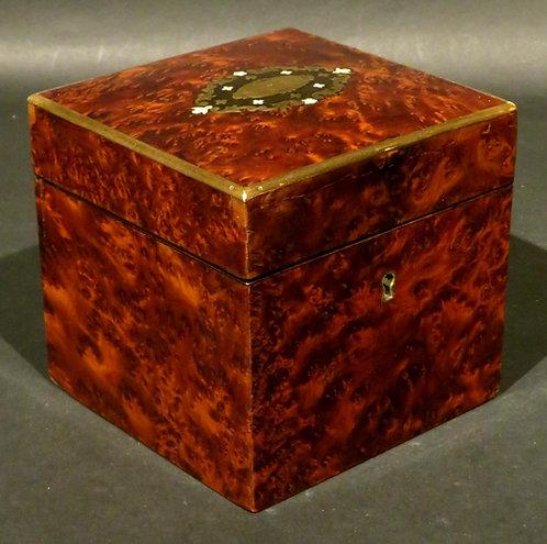 A Very Good 19th Century Brass Bound & Inlaid Amboyna Tea Caddy, France