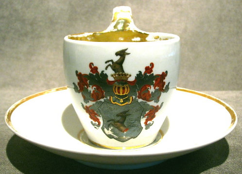 A Very Good 19th Century German Porcelain Presentation Cup & Saucer, Bonn 1852