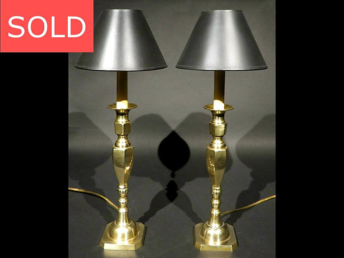 A Handsome Pair of Antique Brass Candlesticks Converted to Table Lamps