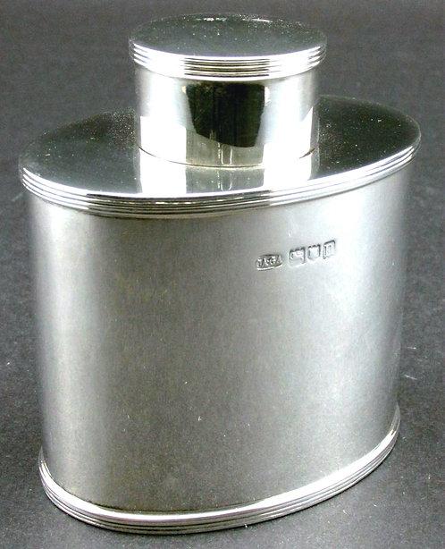 A Very Fine Sterling Silver Tea Caddy of Georgian Design by Asprey of London