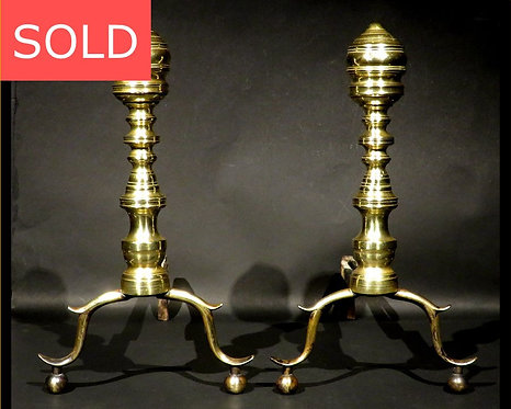 A Very Good Pair of Federal Period Brass 'Beehive' Andirons, New England