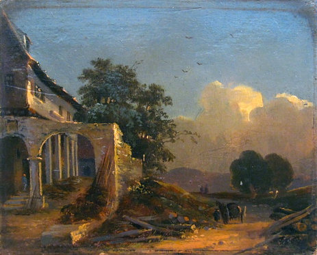 An Early 19th Century Miniature Roman-Campagna Landscape with Ruins, Circa 1830