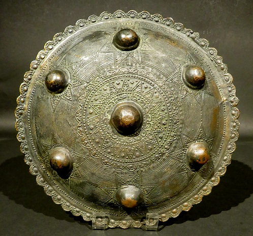 An Early 20th Century Sumatran Brass 'Peurise Awe' (Buckler) Shield, Circa 1900