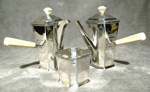 A Very Fine Art Deco Sterling Silver & Ivory Handled Café au Lait Service.