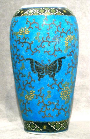 A 19th Century Porcelain and Cloisonné 'Totai' Vase. Japanese, Meiji Period