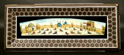 An Early 20th Century Signed Persian Miniature Watercolour of Polo Players