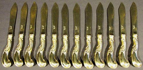 An Exceptionally Fine Set of Twelve German Silver-Gilt Art Nouveau Fish Knives