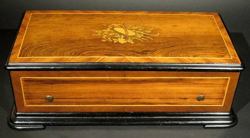 A Fine 19th Century Rosewood, Kingwood & Part Ebonized Music Box, Swiss
