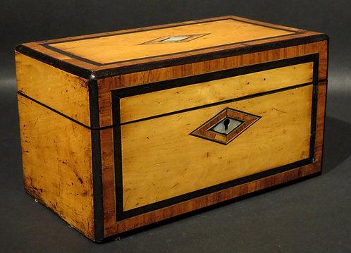 A Very Good Inlaid Regency Period Pearwood Tea Caddy, England Circa 1825