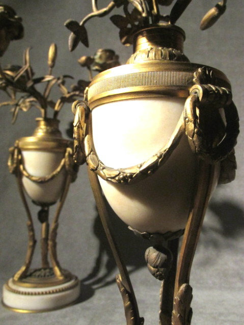 A Pair of Louis XVI Style Gilt Bronze and Marble Three Light Candelabra, French