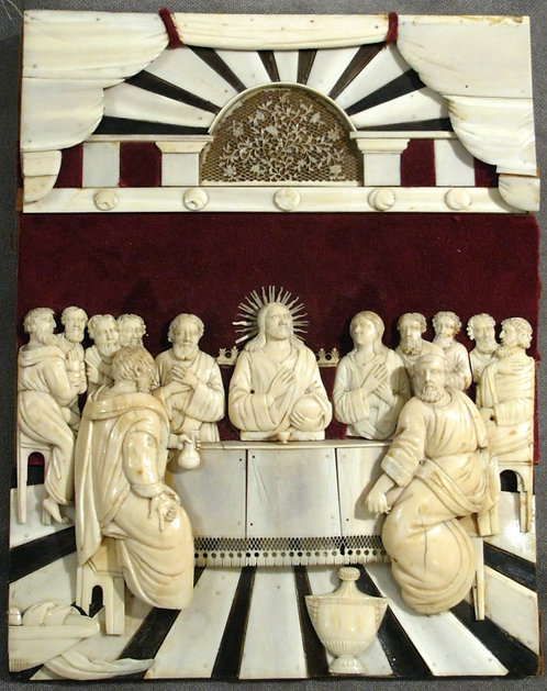 An Early 19th Century Hand-Carved Grand Tour Ivory Panel of The Last Supper