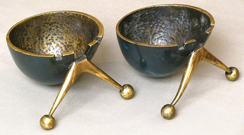 A Pair of Mid 20th Century Pal Bell 'Googie' or 'Populuxe' Bronze Ashtrays