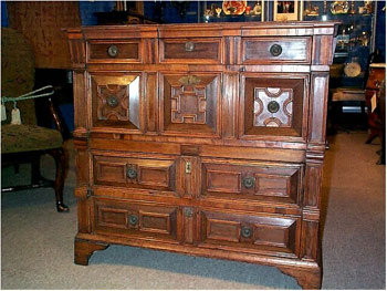 17th Century Panelled Chest of Drawers in Oak & Fruitwood. England. Circa 1670