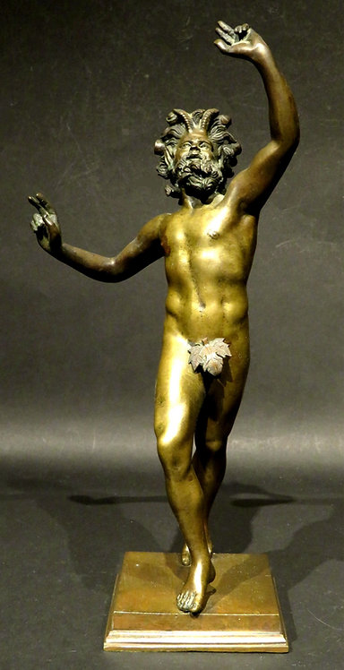 A Very Good Gilt Patinated Bronze of The Dancing Faun of Pompeii, Italy