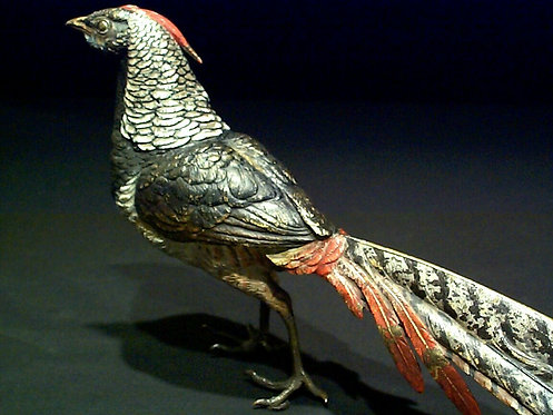 Early 20th Century Cold-Painted Vienna Bronze Pheasant by Franz Xavier Bergmann