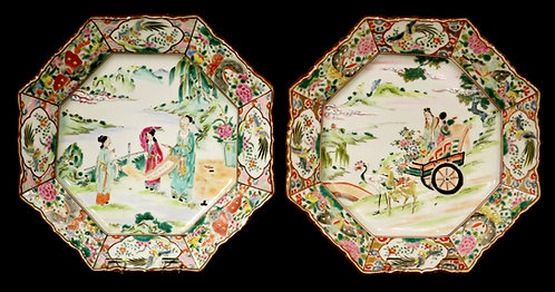 A Very Good Pair of Japanese Enameled Porcelain Cabinet Plates, Meiji Period