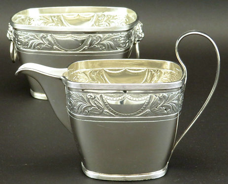 A Very Fine 19th Century Danish Silver Cream Jug & Sugar Bowl by Simon Groth